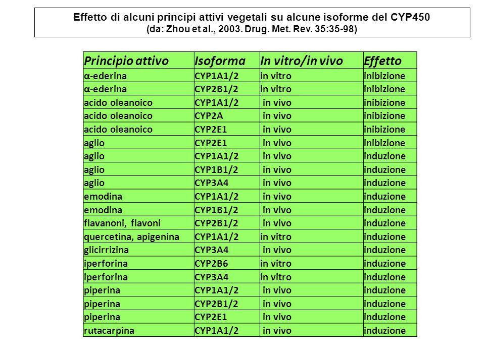 Principio attivoIsoformaIn vitro/in vivoEffetto α-ederinaCYP1A1/2in vitroinibizione α-ederinaCYP2B1/2in vitroinibizione acido oleanoicoCYP1A1/2 in vivoinibizione acido oleanoicoCYP2A in vivoinibizione acido oleanoicoCYP2E1 in vivoinibizione aglioCYP2E1 in vivoinibizione aglioCYP1A1/2 in vivoinduzione aglioCYP1B1/2 in vivoinduzione aglioCYP3A4 in vivoinduzione emodinaCYP1A1/2 in vivoinduzione emodinaCYP1B1/2 in vivoinduzione flavanoni, flavoniCYP2B1/2 in vivoinduzione quercetina, apigeninaCYP1A1/2in vitroinduzione glicirrizinaCYP3A4 in vivoinduzione iperforinaCYP2B6in vitroinduzione iperforinaCYP3A4in vitroinduzione piperinaCYP1A1/2 in vivoinduzione piperinaCYP2B1/2 in vivoinduzione piperinaCYP2E1 in vivoinduzione rutacarpinaCYP1A1/2 in vivoinduzione Effetto di alcuni principi attivi vegetali su alcune isoforme del CYP450 (da: Zhou et al., 2003.