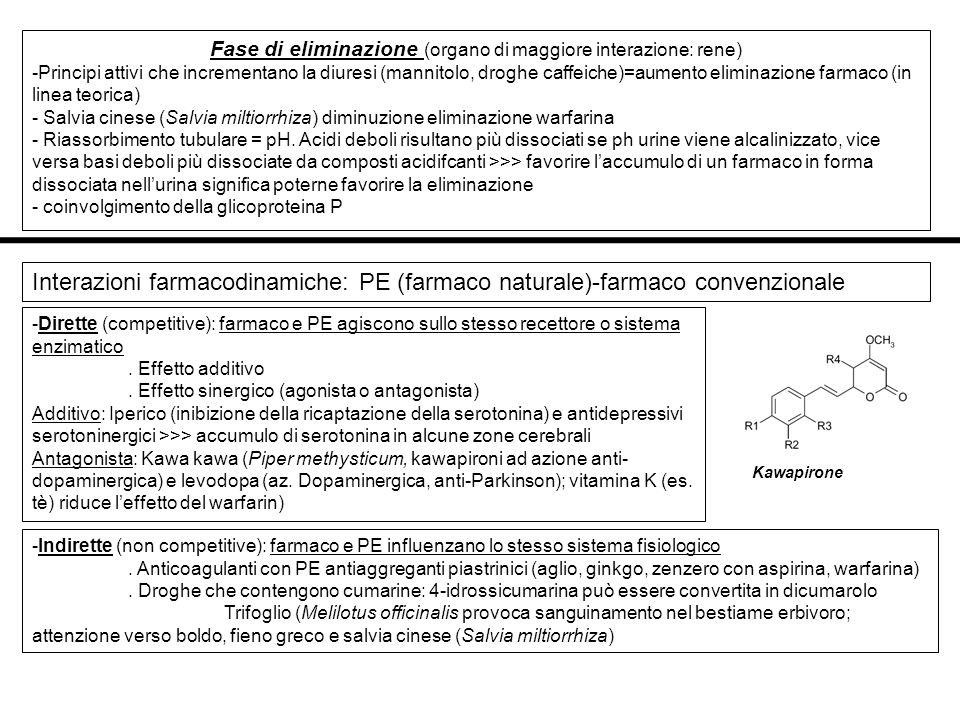 Fase di eliminazione (organo di maggiore interazione: rene) -Principi attivi che incrementano la diuresi (mannitolo, droghe caffeiche)=aumento elimina