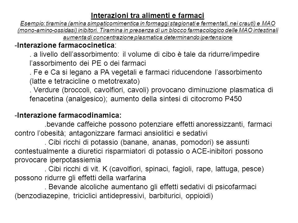 Interazioni tra alimenti e farmaci Esempio: tiramina (amina simpaticomimentica in formaggi stagionati e fermentati, nei crauti) e MAO (mono-amino-ossi
