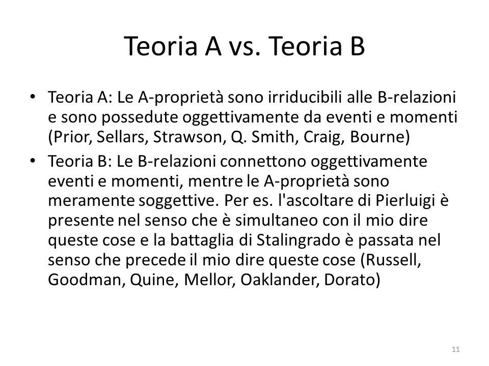 Teoria A vs. Teoria B Teoria A: Le A-proprietà sono irriducibili alle B-relazioni e sono possedute oggettivamente da eventi e momenti (Prior, Sellars,