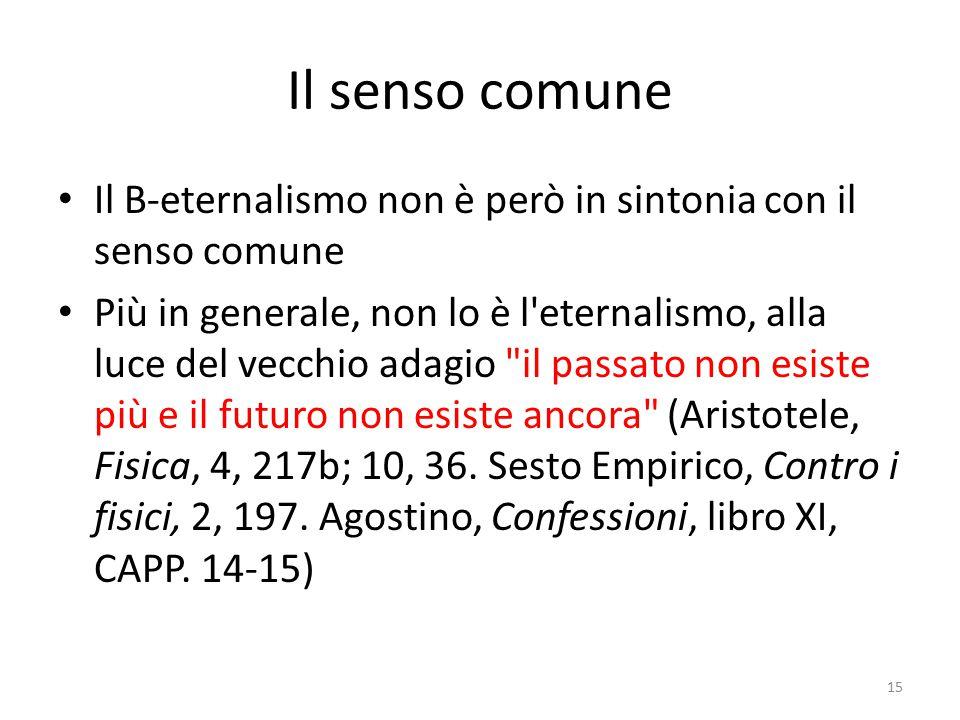Il senso comune Il B-eternalismo non è però in sintonia con il senso comune Più in generale, non lo è l'eternalismo, alla luce del vecchio adagio