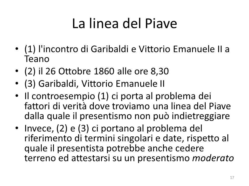 La linea del Piave (1) l'incontro di Garibaldi e Vittorio Emanuele II a Teano (2) il 26 Ottobre 1860 alle ore 8,30 (3) Garibaldi, Vittorio Emanuele II