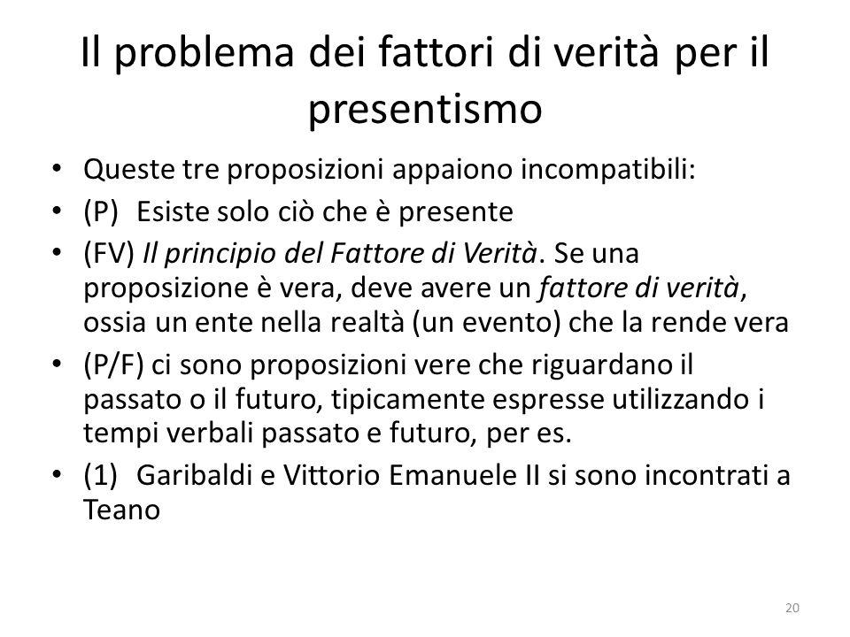 Il problema dei fattori di verità per il presentismo Queste tre proposizioni appaiono incompatibili: (P)Esiste solo ciò che è presente (FV) Il princip