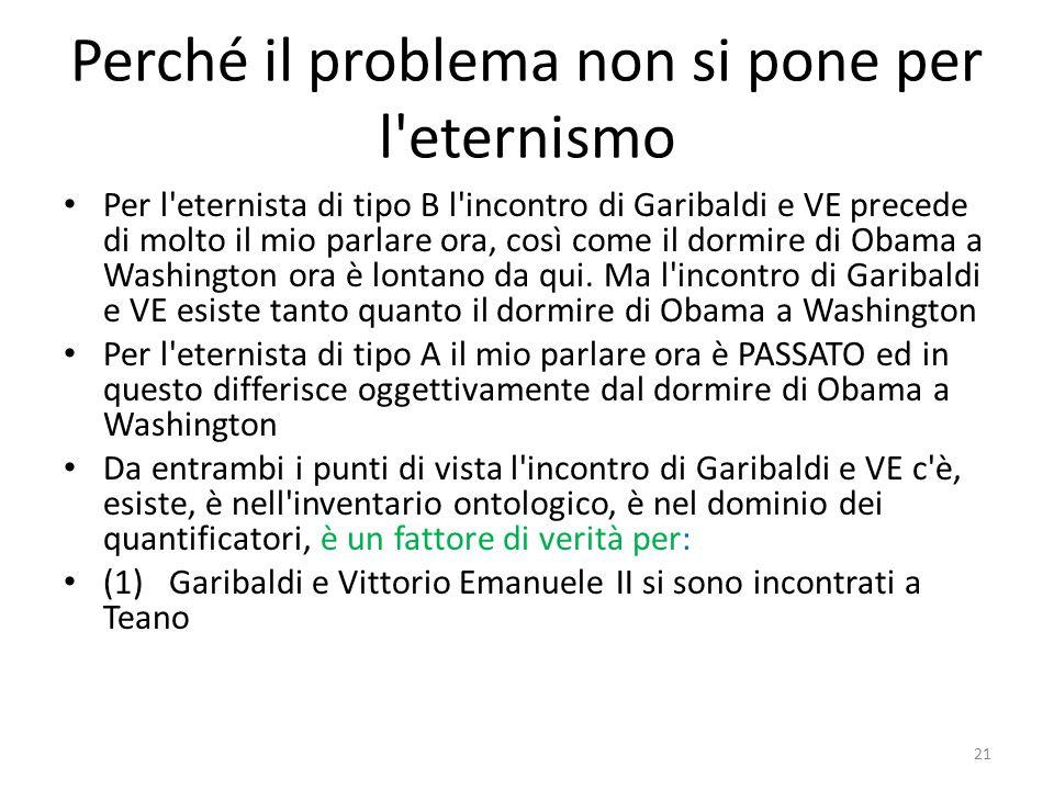 Perché il problema non si pone per l'eternismo Per l'eternista di tipo B l'incontro di Garibaldi e VE precede di molto il mio parlare ora, così come i