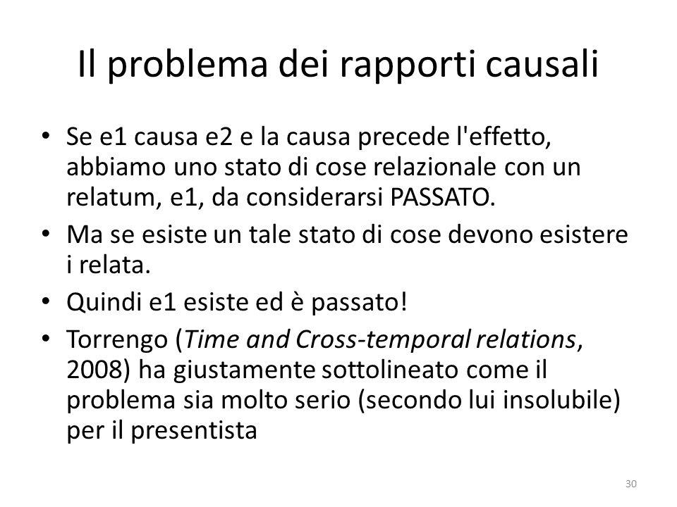 Il problema dei rapporti causali Se e1 causa e2 e la causa precede l'effetto, abbiamo uno stato di cose relazionale con un relatum, e1, da considerars