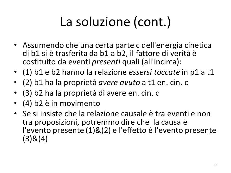 La soluzione (cont.) Assumendo che una certa parte c dell'energia cinetica di b1 si è trasferita da b1 a b2, il fattore di verità è costituito da even