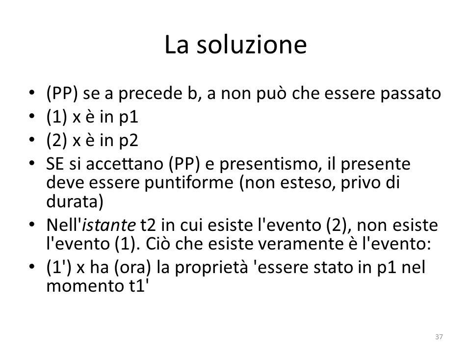 La soluzione (PP) se a precede b, a non può che essere passato (1) x è in p1 (2) x è in p2 SE si accettano (PP) e presentismo, il presente deve essere