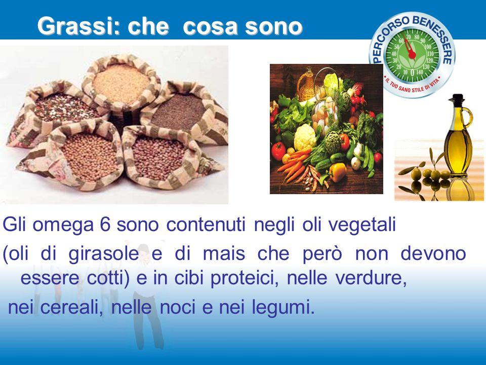 Grassi: che cosa sono Gli omega 6 sono contenuti negli oli vegetali (oli di girasole e di mais che però non devono essere cotti) e in cibi proteici, n