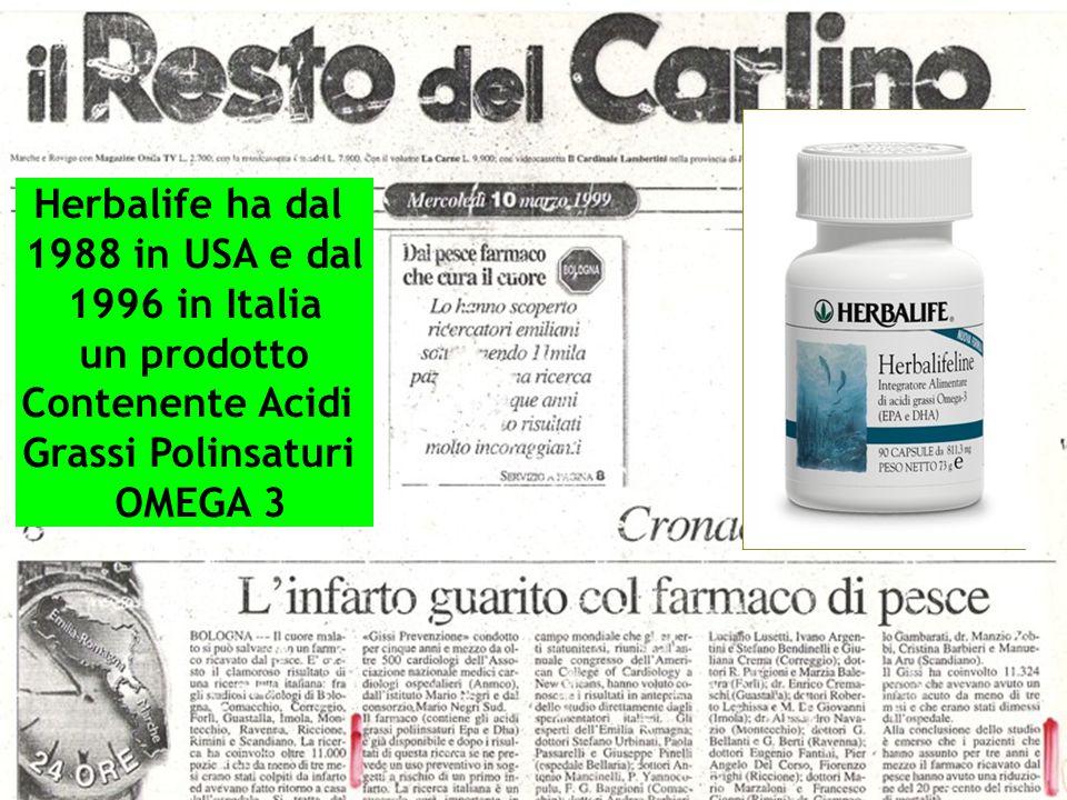 Herbalife ha dal 1988 in USA e dal 1996 in Italia un prodotto Contenente Acidi Grassi Polinsaturi OMEGA 3