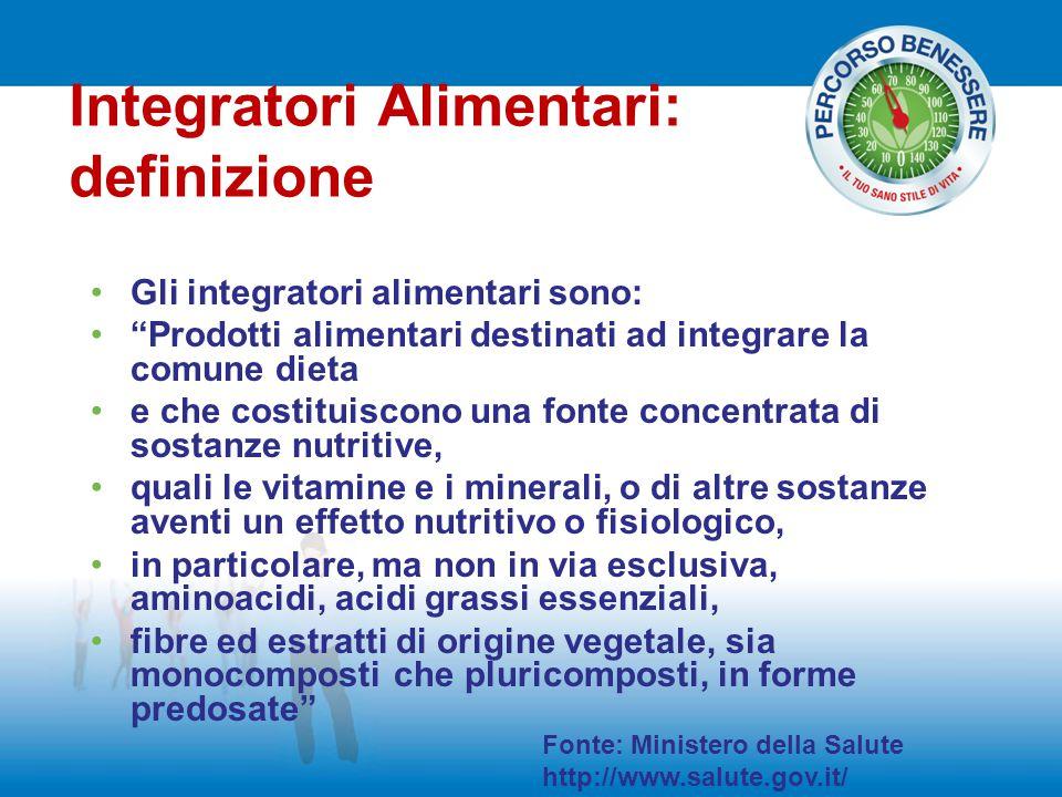 """Gli integratori alimentari sono: """"Prodotti alimentari destinati ad integrare la comune dieta e che costituiscono una fonte concentrata di sostanze nut"""
