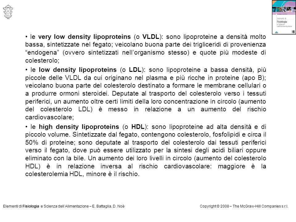 Elementi di Fisiologia e Scienza dell'Alimentazione – E. Battaglia, D. NoèCopyright © 2008 – The McGraw-Hill Companies s.r.l. le very low density lipo