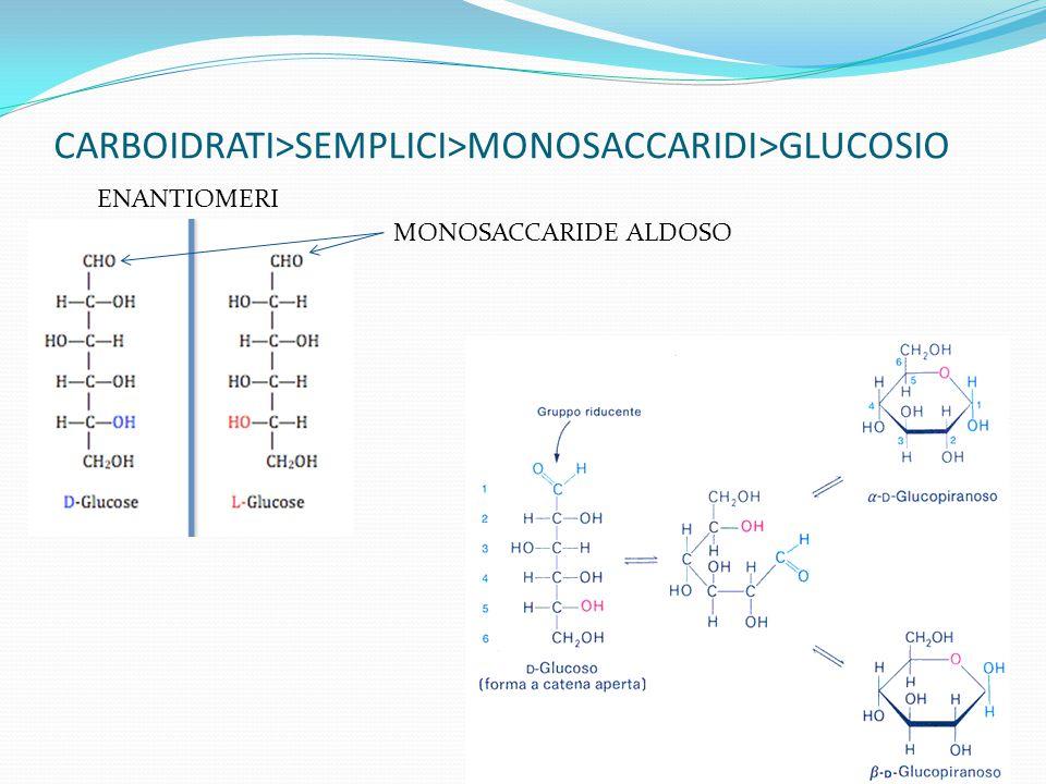 CARBOIDRATI>SEMPLICI>MONOSACCARIDI>GLUCOSIO ENANTIOMERI MONOSACCARIDE ALDOSO