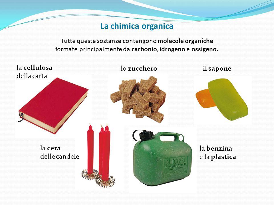 lo zuccheroil sapone la benzina e la plastica la cellulosa della carta la cera delle candele La chimica organica Tutte queste sostanze contengono mole