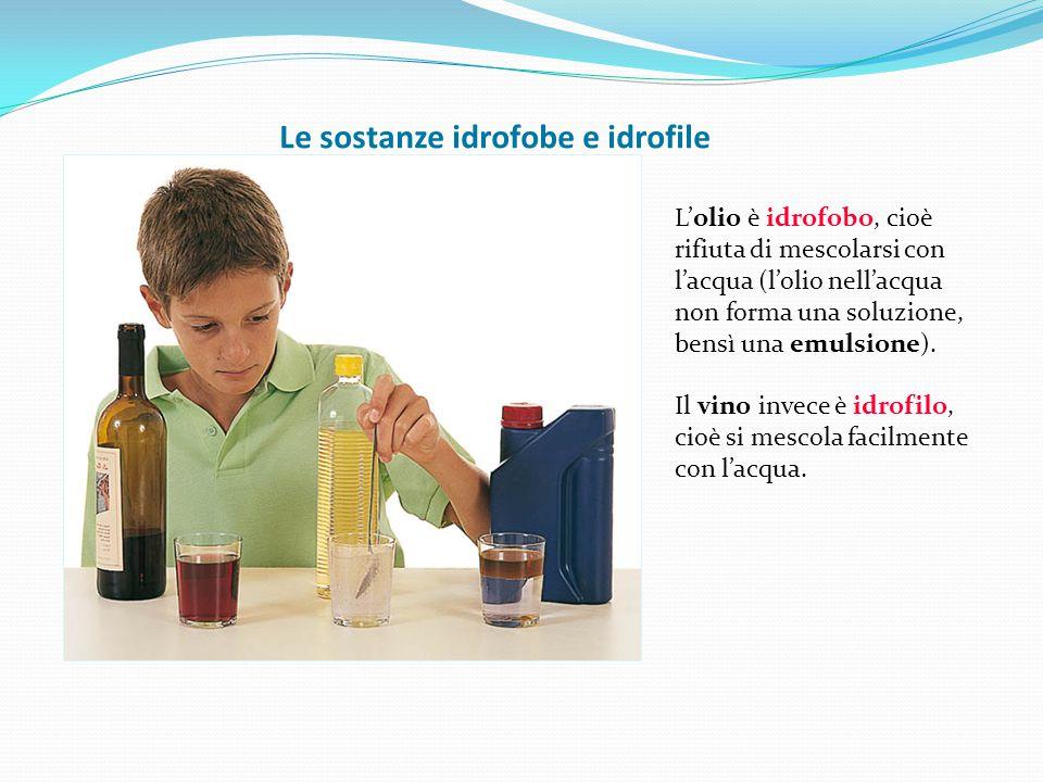 Le sostanze idrofobe e idrofile L'olio è idrofobo, cioè rifiuta di mescolarsi con l'acqua (l'olio nell'acqua non forma una soluzione, bensì una emulsi