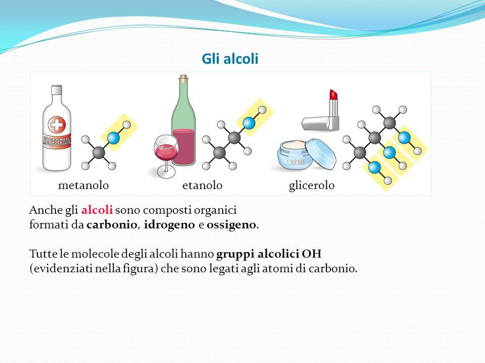 Gli alcoli Anche gli alcoli sono composti organici formati da carbonio, idrogeno e ossigeno. Tutte le molecole degli alcoli hanno gruppi alcolici OH (