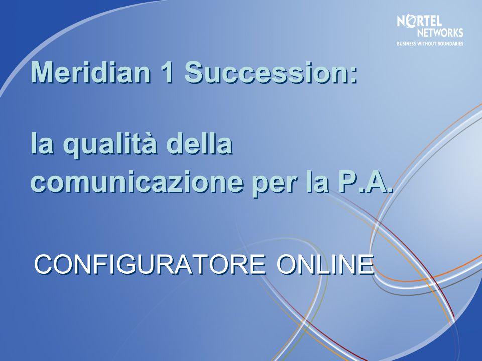 CONFIGURATORE ONLINE Meridian 1 Succession: la qualità della comunicazione per la P.A.