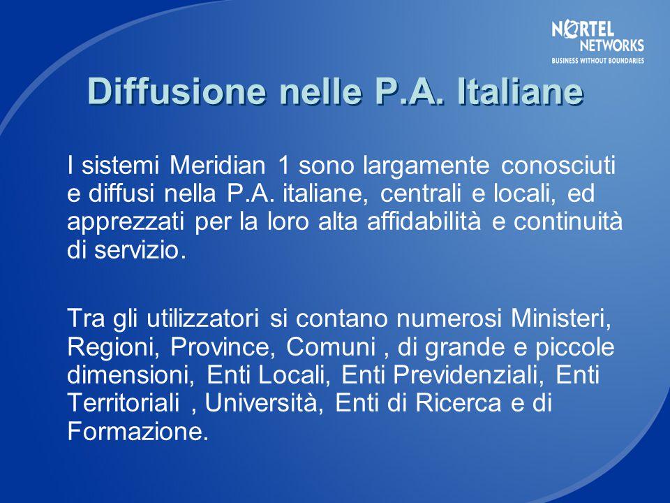 Diffusione nelle P.A. Italiane I sistemi Meridian 1 sono largamente conosciuti e diffusi nella P.A.