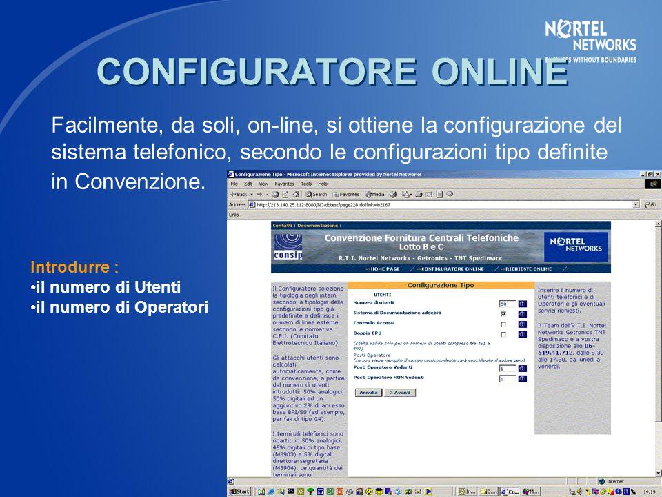 Facilmente, da soli, on-line, si ottiene la configurazione del sistema telefonico, secondo le configurazioni tipo definite in Convenzione.