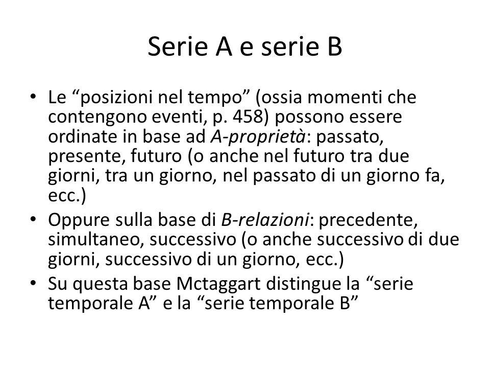 """Serie A e serie B Le """"posizioni nel tempo"""" (ossia momenti che contengono eventi, p. 458) possono essere ordinate in base ad A-proprietà: passato, pres"""