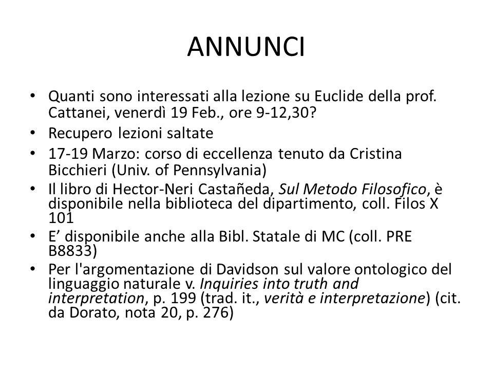 ANNUNCI Quanti sono interessati alla lezione su Euclide della prof. Cattanei, venerdì 19 Feb., ore 9-12,30? Recupero lezioni saltate 17-19 Marzo: cors
