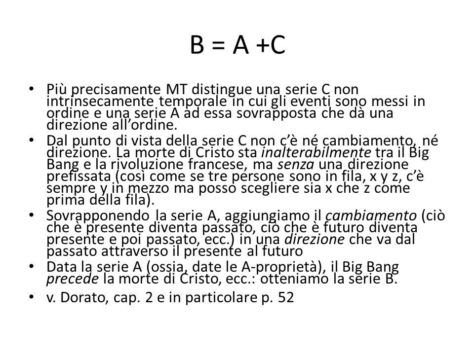 B = A +C Più precisamente MT distingue una serie C non intrinsecamente temporale in cui gli eventi sono messi in ordine e una serie A ad essa sovrapposta che dà una direzione all'ordine.