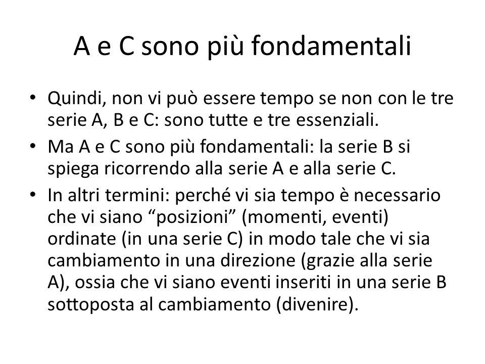 A e C sono più fondamentali Quindi, non vi può essere tempo se non con le tre serie A, B e C: sono tutte e tre essenziali. Ma A e C sono più fondament