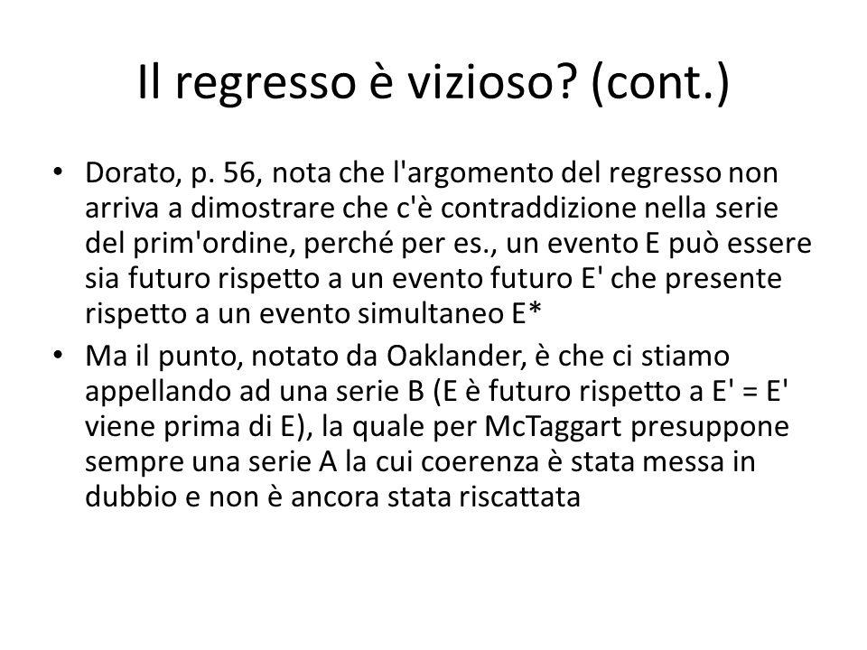 Il regresso è vizioso? (cont.) Dorato, p. 56, nota che l'argomento del regresso non arriva a dimostrare che c'è contraddizione nella serie del prim'or