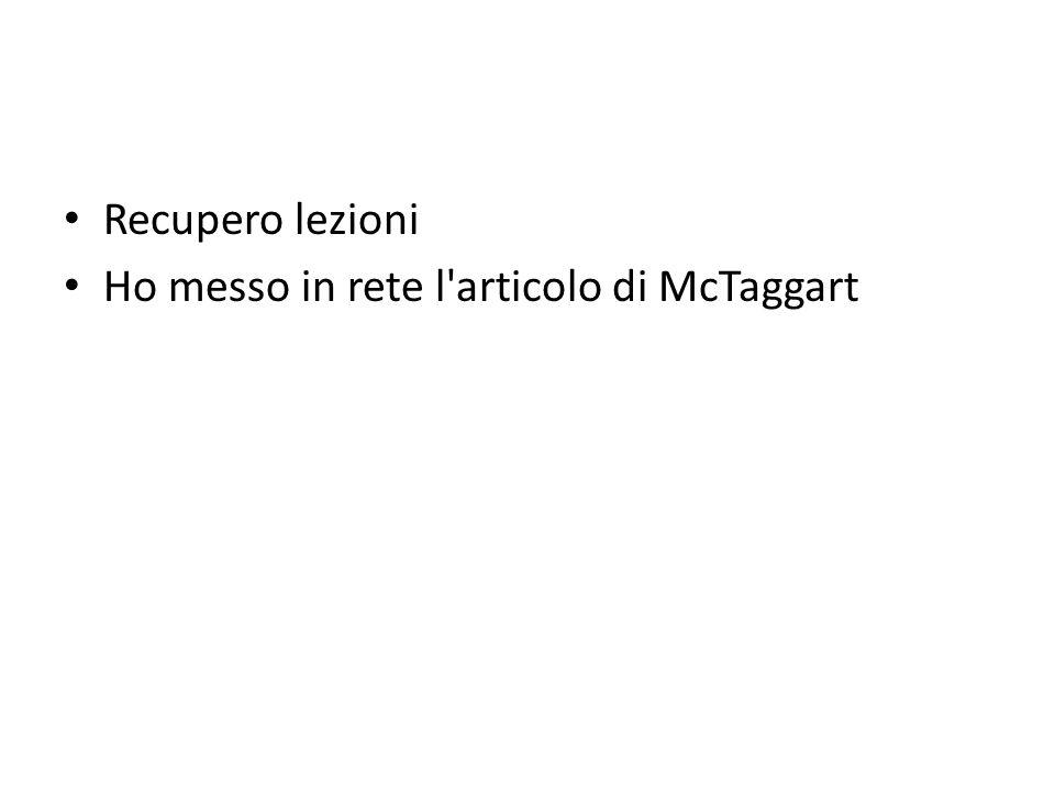 Recupero lezioni Ho messo in rete l'articolo di McTaggart
