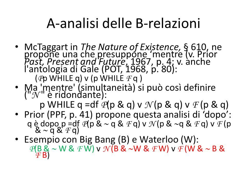 A-analisi delle B-relazioni McTaggart in The Nature of Existence, § 610, ne propone una che presuppone 'mentre (v. Prior Past, Present and Future, 196