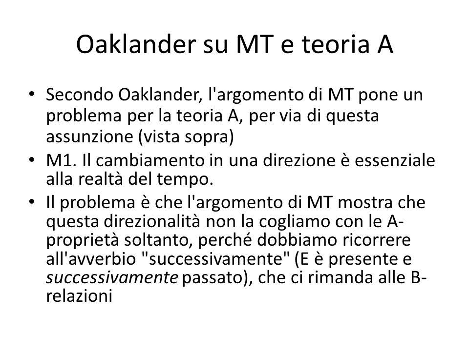 Oaklander su MT e teoria A Secondo Oaklander, l argomento di MT pone un problema per la teoria A, per via di questa assunzione (vista sopra) M1.