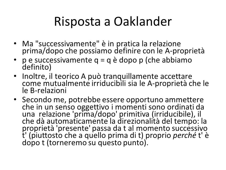 Risposta a Oaklander Ma
