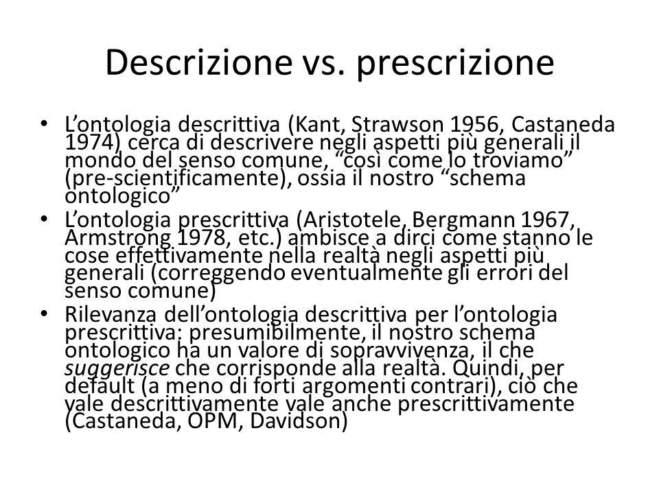 Descrizione vs. prescrizione L'ontologia descrittiva (Kant, Strawson 1956, Castaneda 1974) cerca di descrivere negli aspetti più generali il mondo del