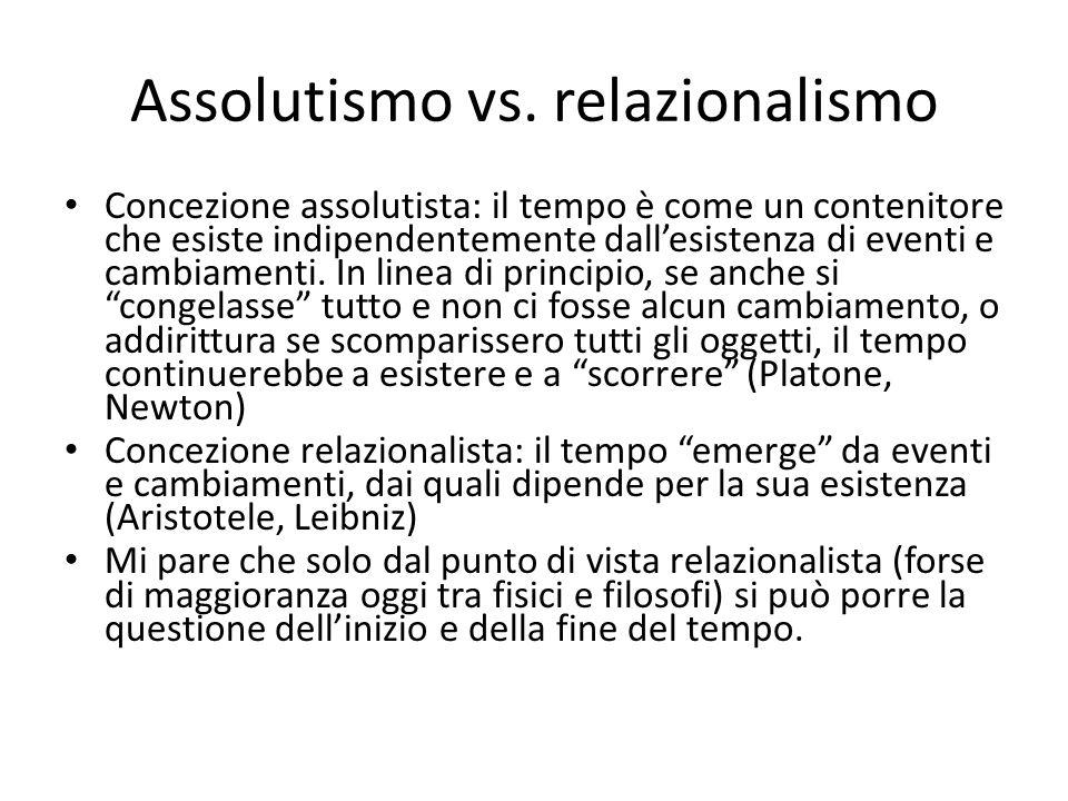 Assolutismo vs. relazionalismo Concezione assolutista: il tempo è come un contenitore che esiste indipendentemente dall'esistenza di eventi e cambiame