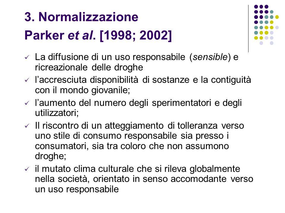 3. Normalizzazione Parker et al. [1998; 2002] La diffusione di un uso responsabile (sensible) e ricreazionale delle droghe l'accresciuta disponibilità