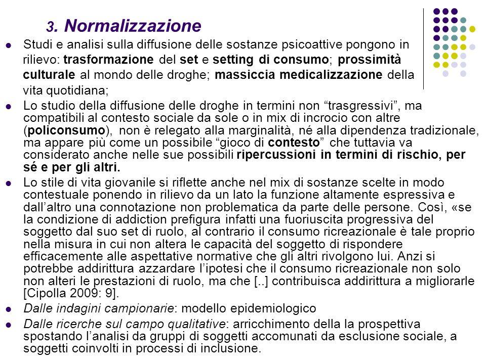 3. Normalizzazione Studi e analisi sulla diffusione delle sostanze psicoattive pongono in rilievo: trasformazione del set e setting di consumo; prossi