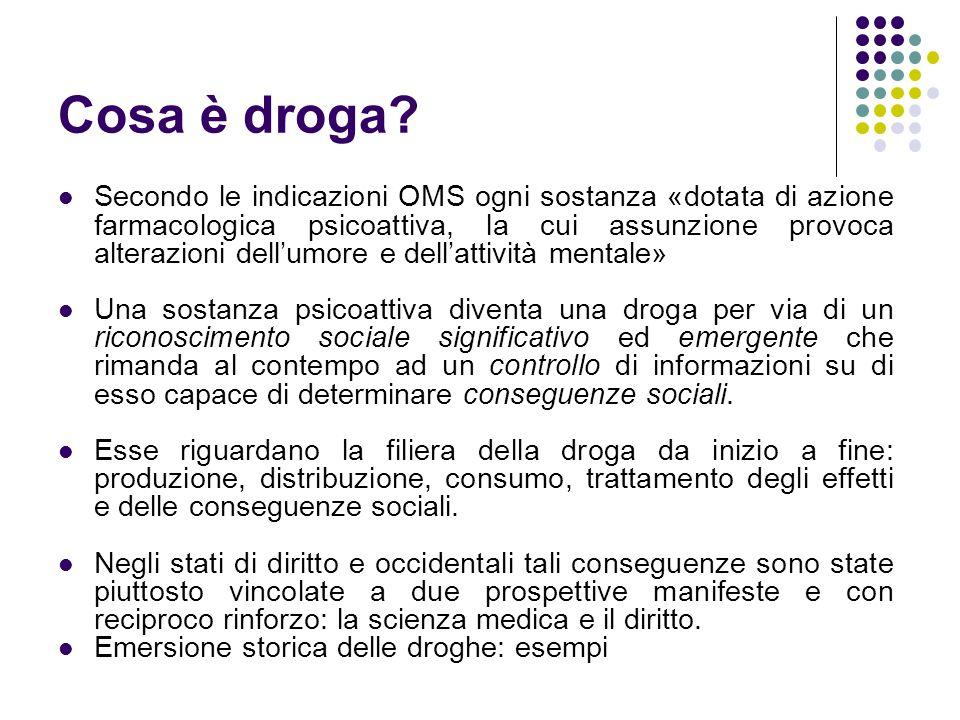 Funzioni attribuibili all'uso di droghe ( Goode, 2001) Droghe nel significato comune (cannabis, cocaina, eroina, ecstasy, ecc.) Alcol/TabaccoRicreative Sostanze dopanti Sostanze prescritte dai medici (tranquillanti, psicofarmaci in genere) Strumentali/ Terapeutiche IllegaliLegali