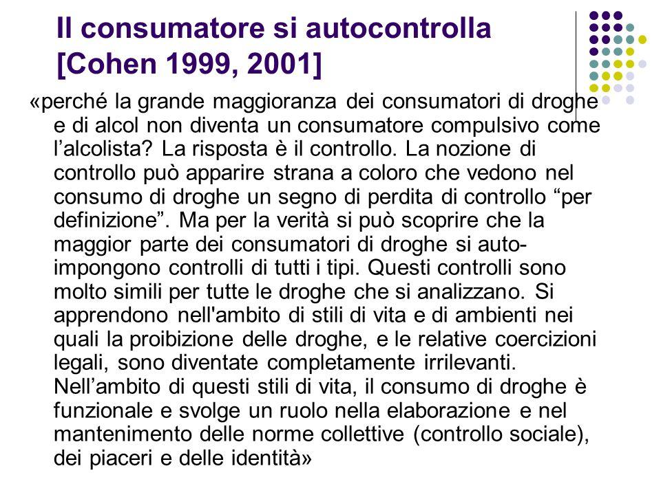 Il consumatore si autocontrolla [Cohen 1999, 2001] «perché la grande maggioranza dei consumatori di droghe e di alcol non diventa un consumatore compu