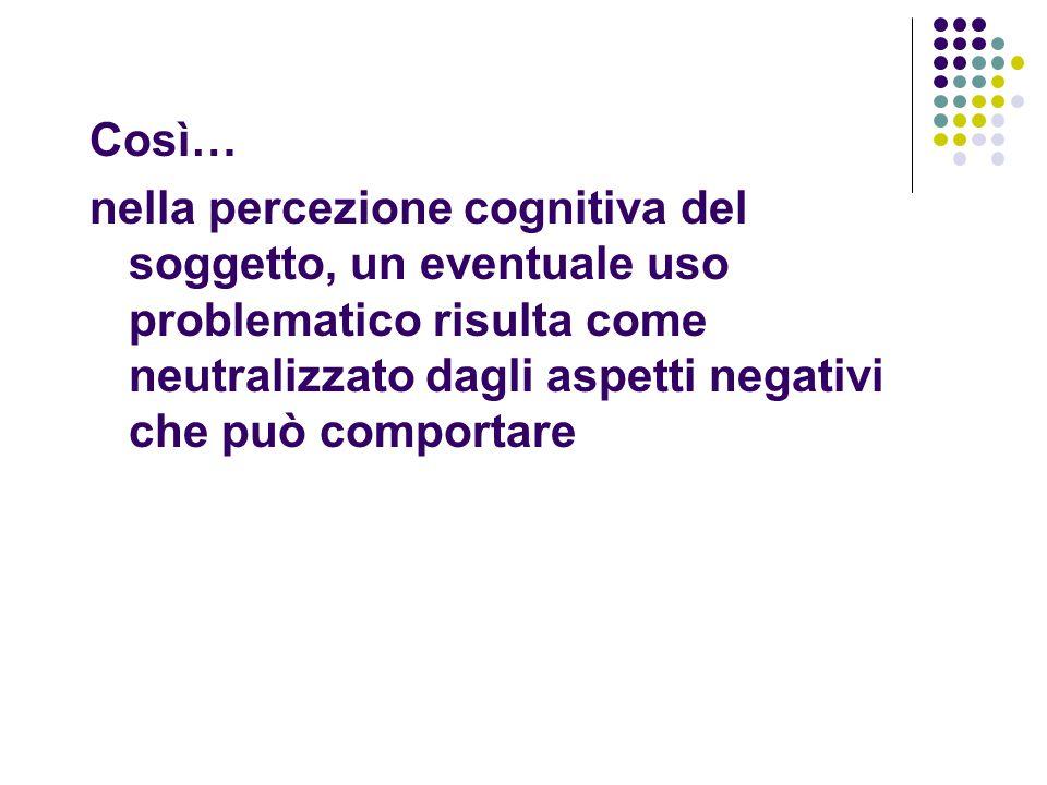 Così… nella percezione cognitiva del soggetto, un eventuale uso problematico risulta come neutralizzato dagli aspetti negativi che può comportare