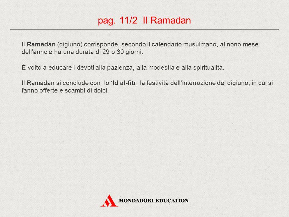 Il Ramadan (digiuno) corrisponde, secondo il calendario musulmano, al nono mese dell'anno e ha una durata di 29 o 30 giorni. È volto a educare i devot