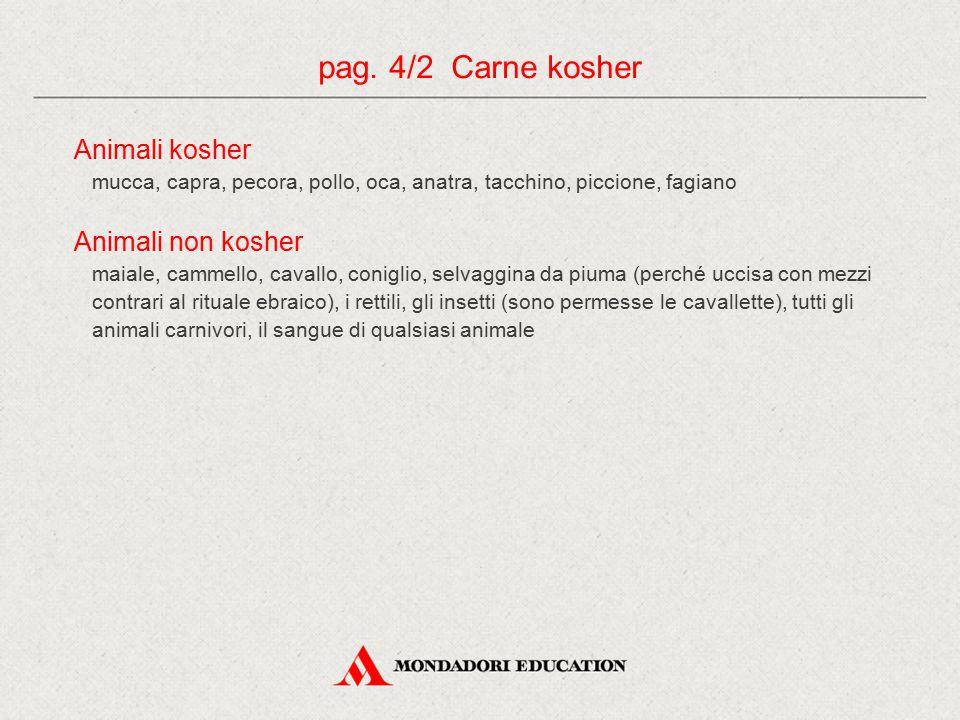 Animali kosher mucca, capra, pecora, pollo, oca, anatra, tacchino, piccione, fagiano Animali non kosher maiale, cammello, cavallo, coniglio, selvaggin