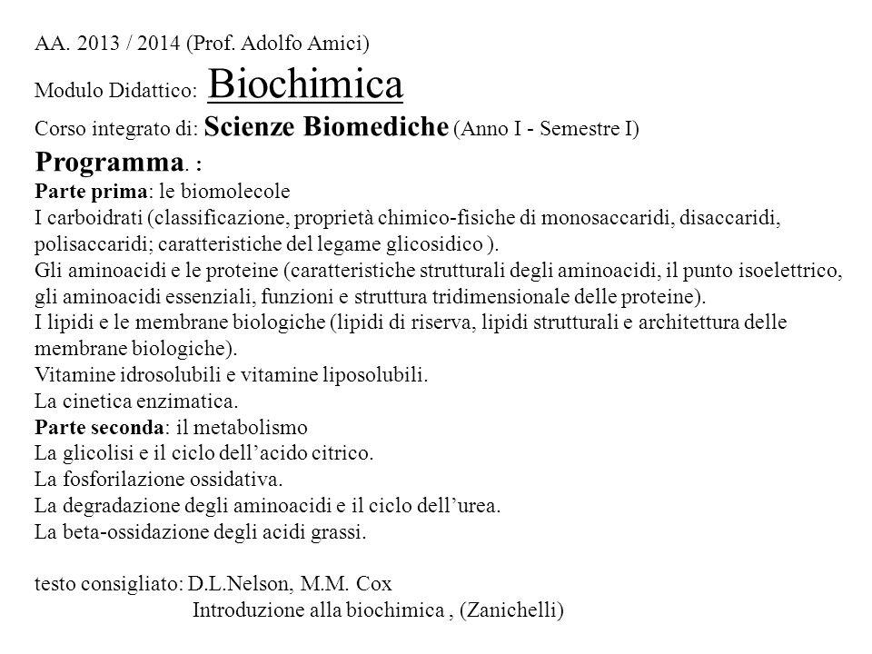 AA. 2013 / 2014 (Prof. Adolfo Amici) Modulo Didattico: Biochimica Corso integrato di: Scienze Biomediche (Anno I - Semestre I) Programma. : Parte prim