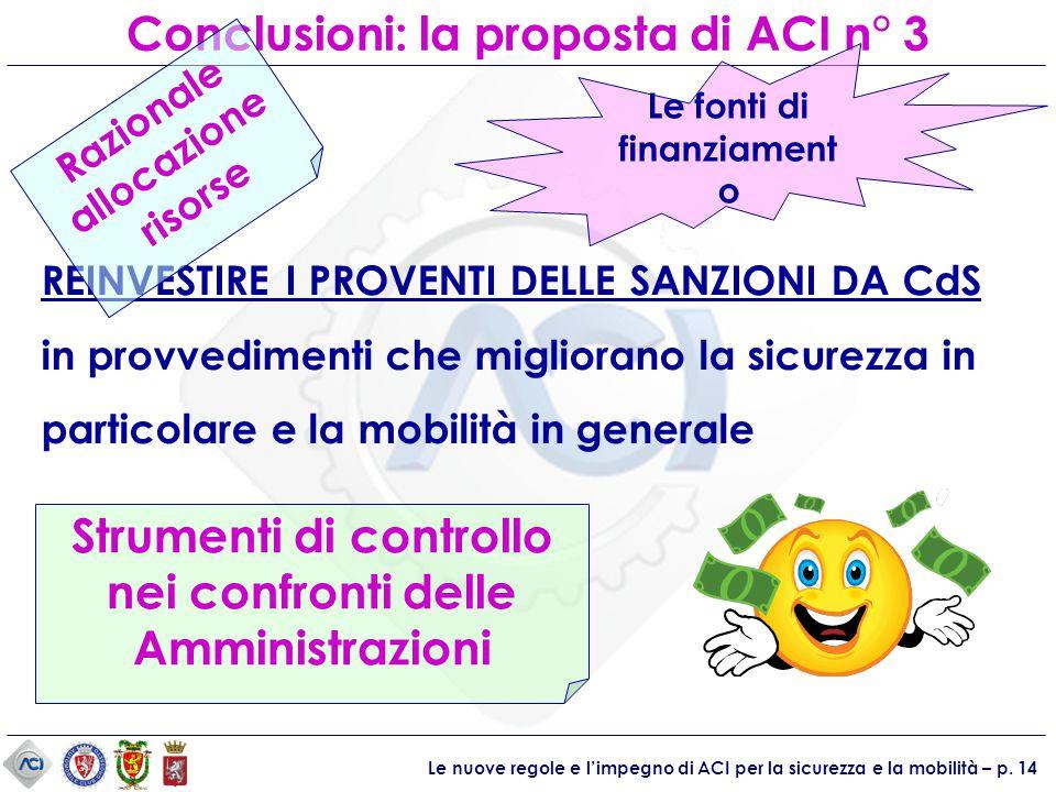 Le nuove regole e l'impegno di ACI per la sicurezza e la mobilità – p. 14 Conclusioni: la proposta di ACI n° 3 Strumenti di controllo nei confronti de