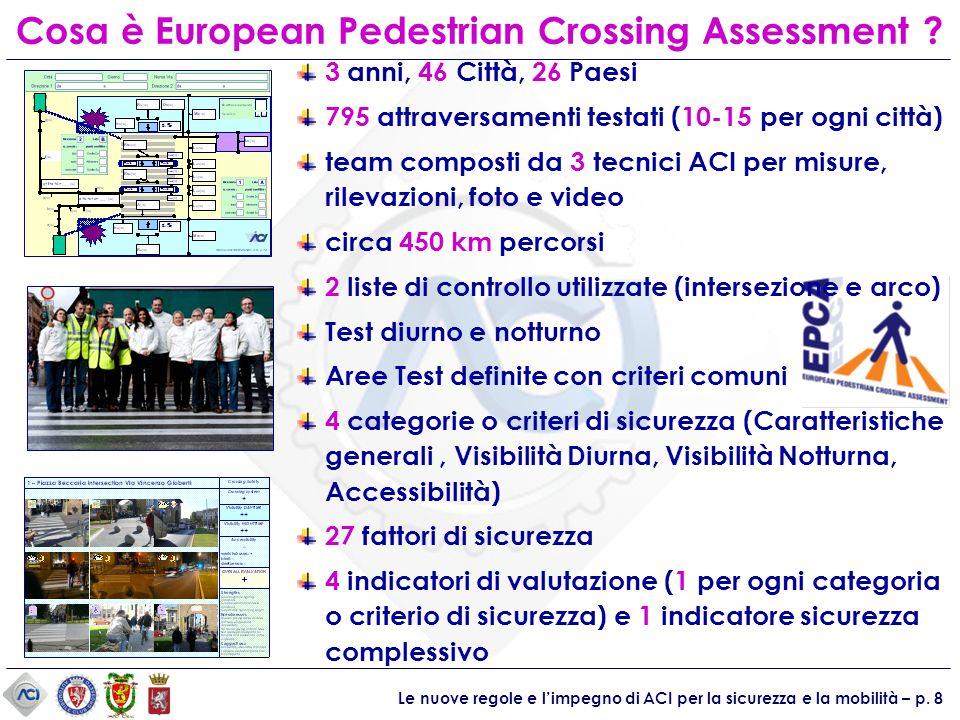 Le nuove regole e l'impegno di ACI per la sicurezza e la mobilità – p. 8 3 anni, 46 Città, 26 Paesi 795 attraversamenti testati (10-15 per ogni città)