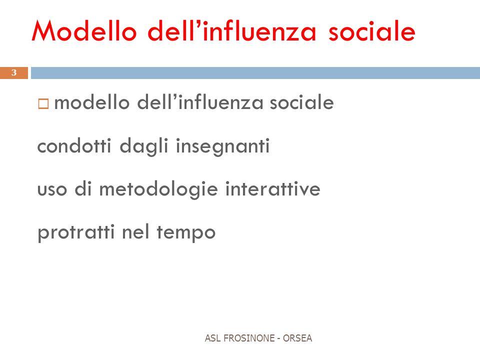 Modello dell'influenza sociale ASL FROSINONE - ORSEA 3  modello dell'influenza sociale condotti dagli insegnanti uso di metodologie interattive protr
