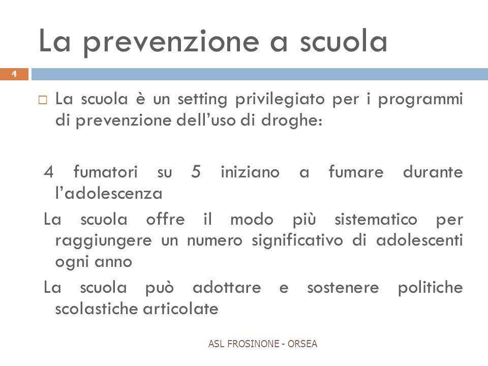 La prevenzione a scuola ASL FROSINONE - ORSEA 4  La scuola è un setting privilegiato per i programmi di prevenzione dell'uso di droghe: 4 fumatori su