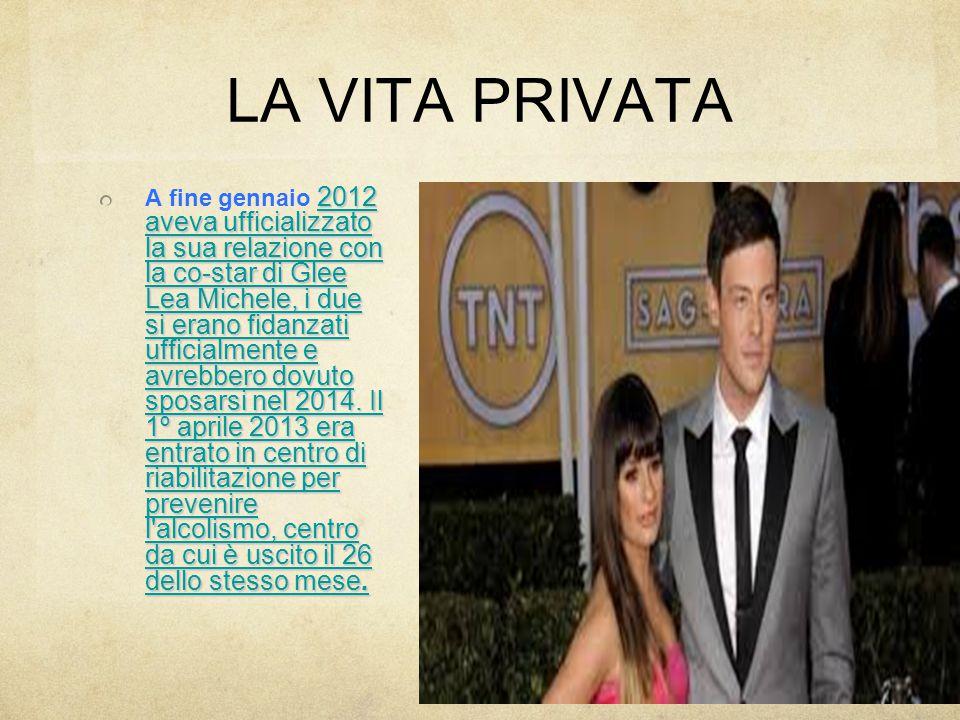 LA VITA PRIVATA 2012 aveva ufficializzato la sua relazione con la co-star di Glee Lea Michele, i due si erano fidanzati ufficialmente e avrebbero dovuto sposarsi nel 2014.