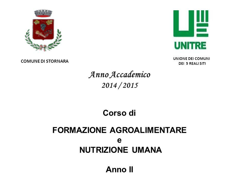 Anno Accademico 2014 / 2015 Corso di FORMAZIONE AGROALIMENTARE e NUTRIZIONE UMANA Anno II COMUNE DI STORNARA UNIONE DEI COMUNI DEI 5 REALI SITI