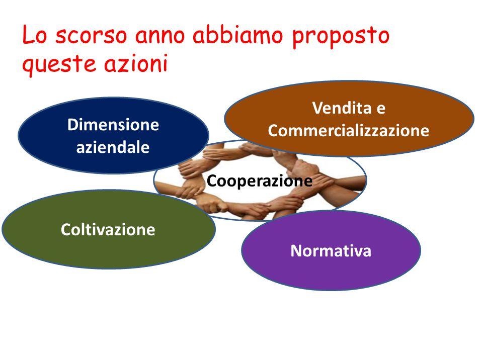 Lo scorso anno abbiamo proposto queste azioni Cooperazione Dimensione aziendale Normativa Vendita e Commercializzazione Coltivazione
