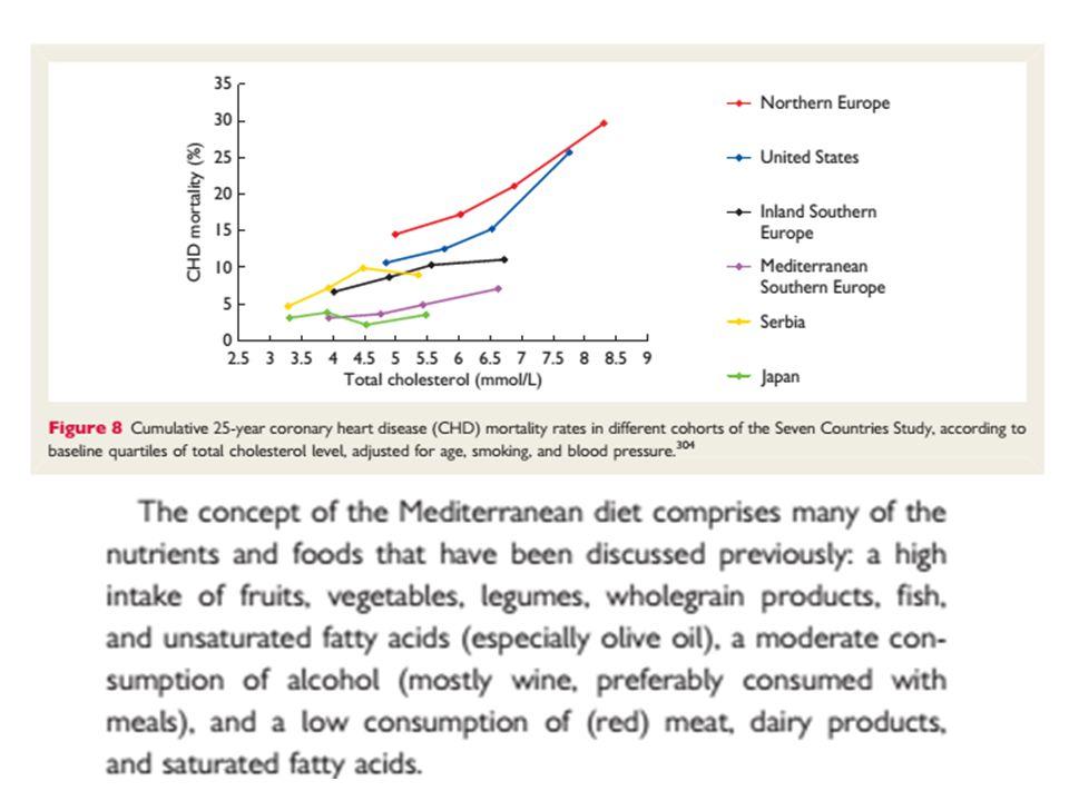 Il concetto di DIETA MEDITERRANEA comprende molti dei nutrienti e gli alimenti che sono stati discussi in precedenza: una assunzione elevata di frutta, verdura, legumi, prodotti integrali, pesce, e acidi grassi insaturi (olio di oliva in particolare), un consumo moderato di alcol (soprattutto vino, meglio se consumato con pasti), e un basso consumo di carni (rosse) e prodotti lattiero- caseari,e acidi grassi saturi.