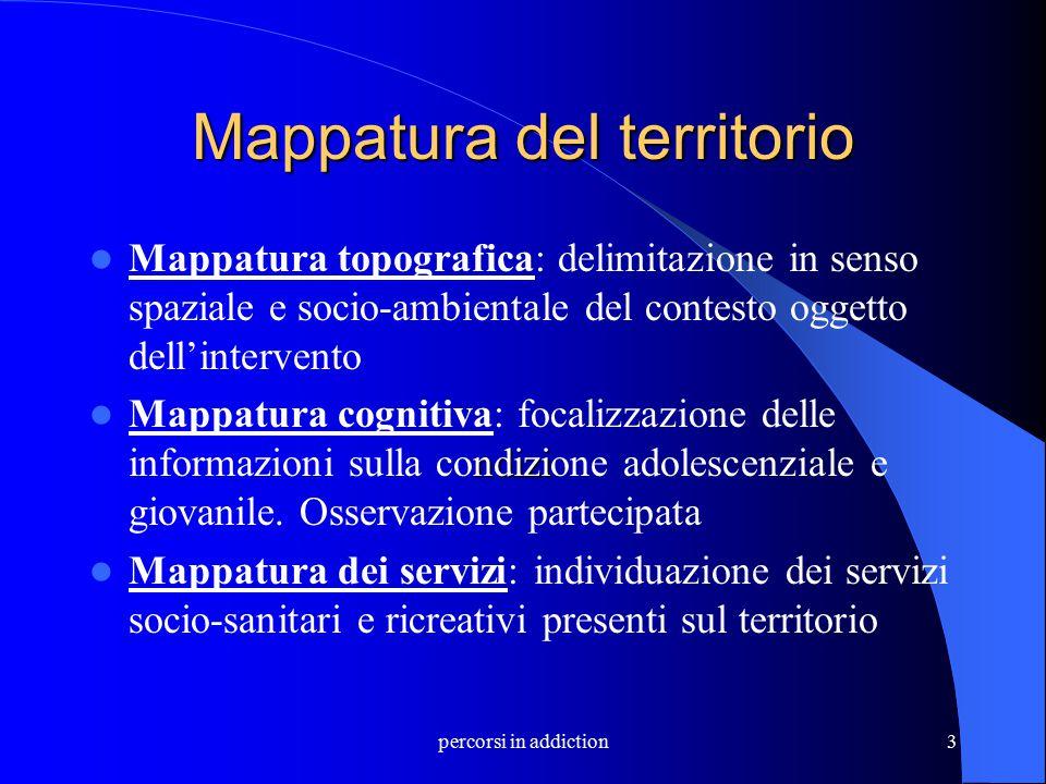 percorsi in addiction3 Mappatura del territorio Mappatura topografica: delimitazione in senso spaziale e socio-ambientale del contesto oggetto dell'in